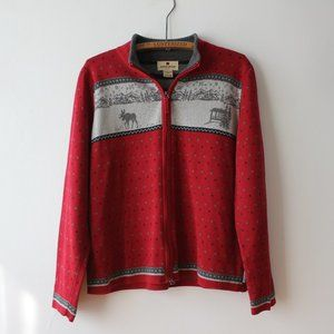 Woolrich Red Winter Zip Up Sweater